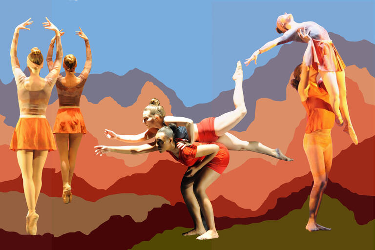 three pairs of dancers in various poses