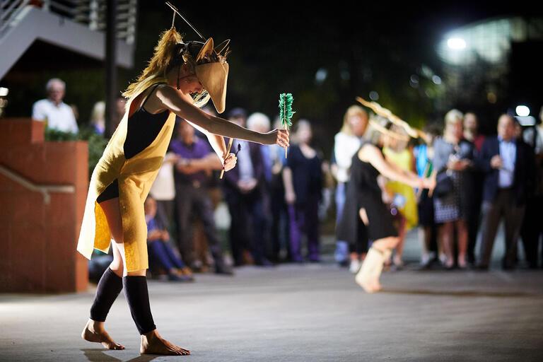 dancer before outdoor audience