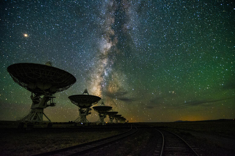 The Milky Way Galaxy seen over the Karl G. Jansky Very Large Array west of Socorro, New Mexico.