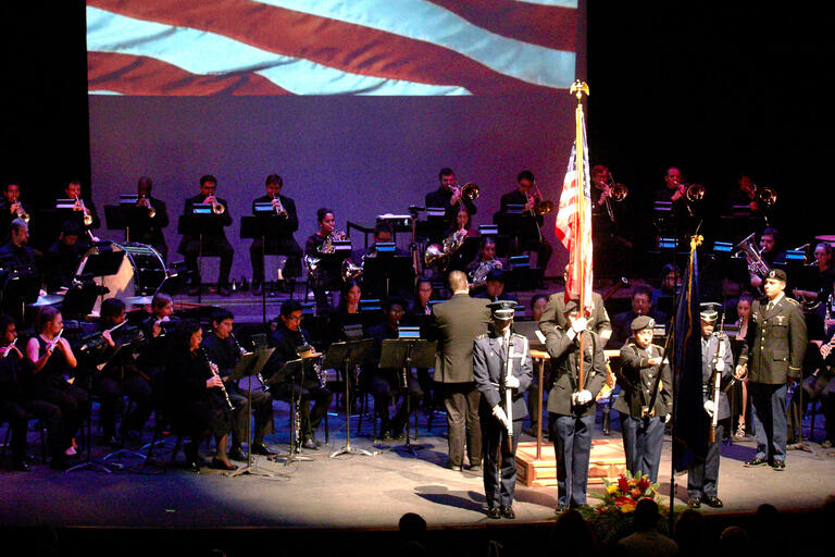 wind orchestra with ROTC flag presentation