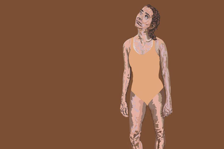 A drawing of a woman in a bathing suit