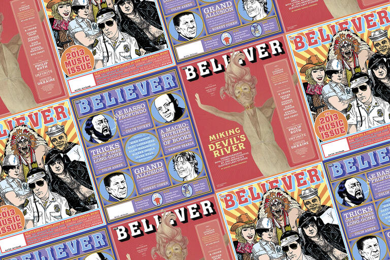 Several covers of Believer magazine