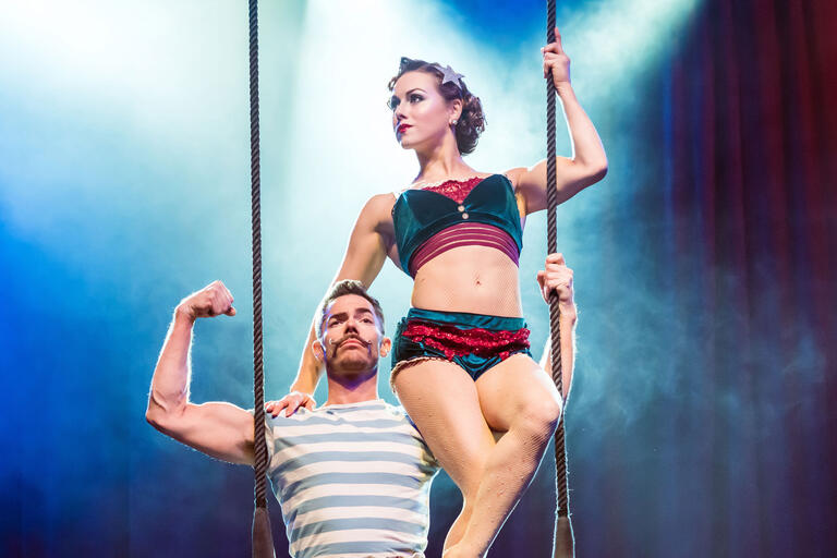 two aerial performers
