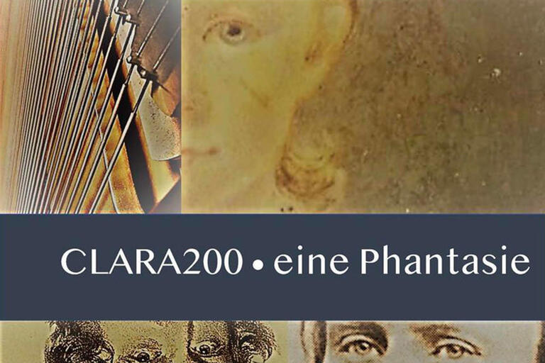 "an artist's rendering of a face and a musical instrument for ""clara200 ""CLARA200 eine Phantasie"""