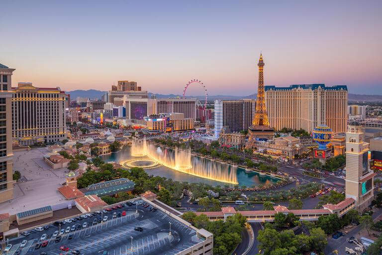 casino skyline during sunset