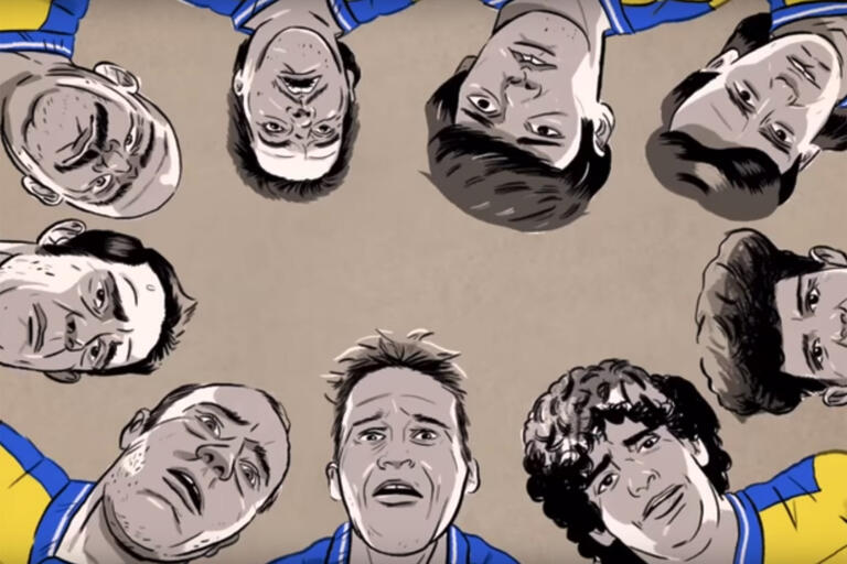 cartoon of men standing in a circle looking down at camera with concerned facial expressions