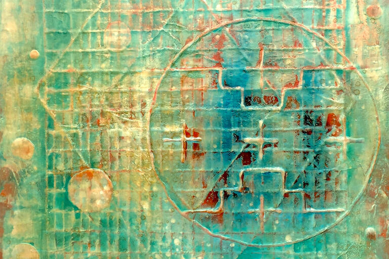 An art piece in blue and yellow depicts geometric shapes