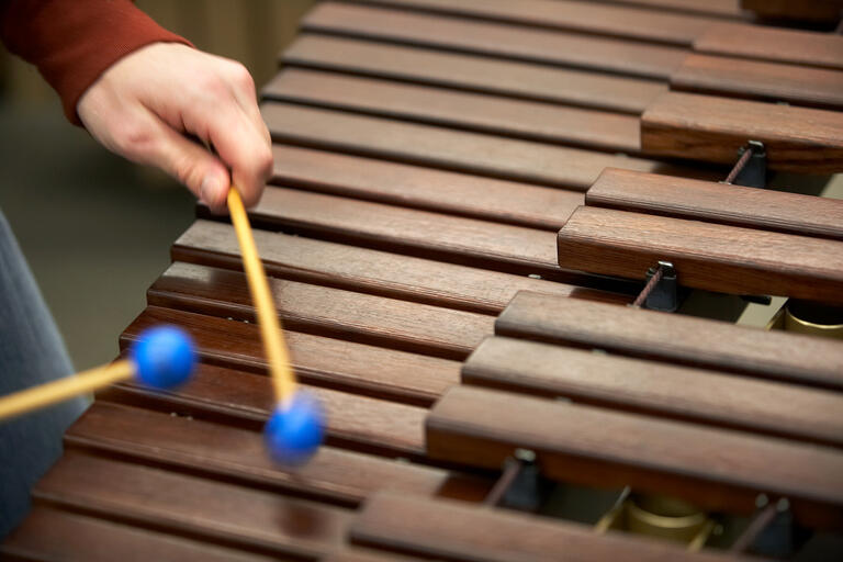 closeup of a xylophone being played
