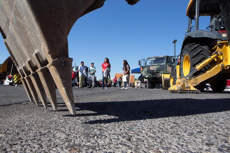 Closeup of construction equipment