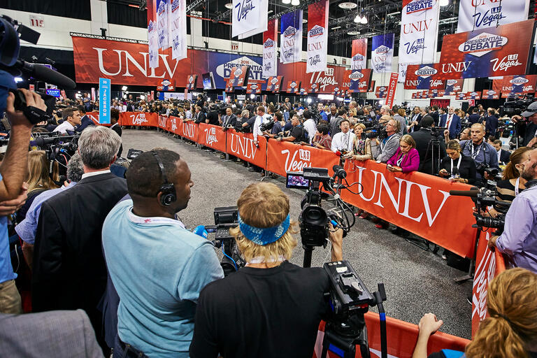 media filing center inside the Cox Pavilion during the 2016 Presidential Debate
