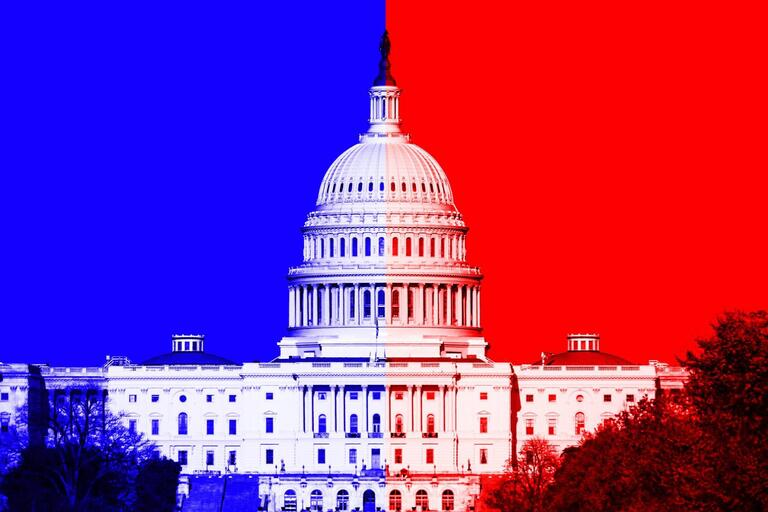 image of Capitol Building with red and blue behind it