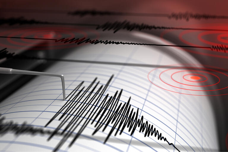 graphic depiction of seismograph during earthquake