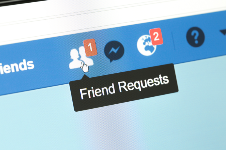computer screen showing Facebook friend requests