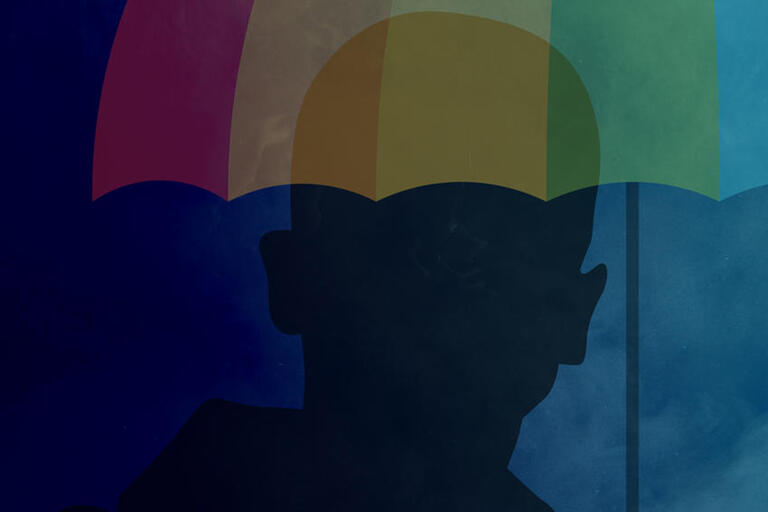 illustration with silhouette of man and rainbow umbrella