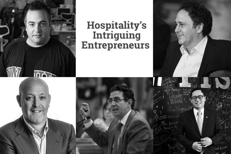 "Photos of 5 men with headline ""Hospitality's Intriguing Entrepreneurs"""