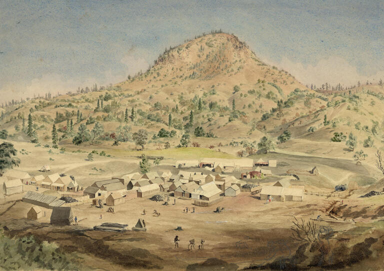 Water color painting of a frontier scene.