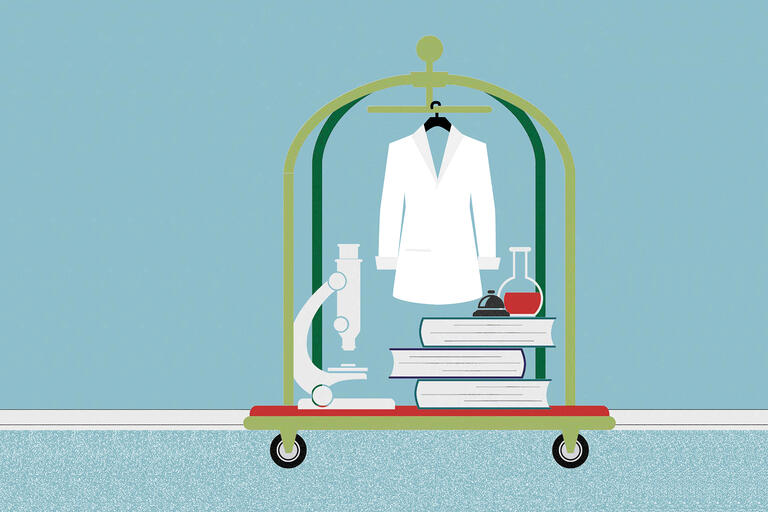 Graphic of cart with lab coat, microscope, and books