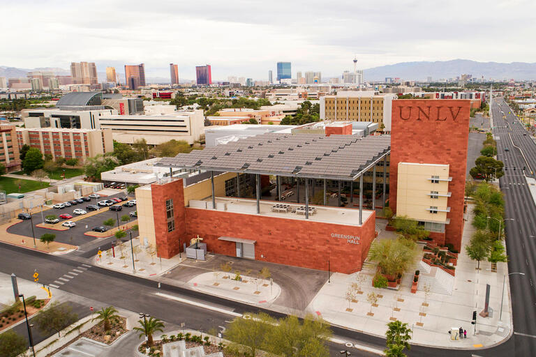 view of UNLV building with city in background