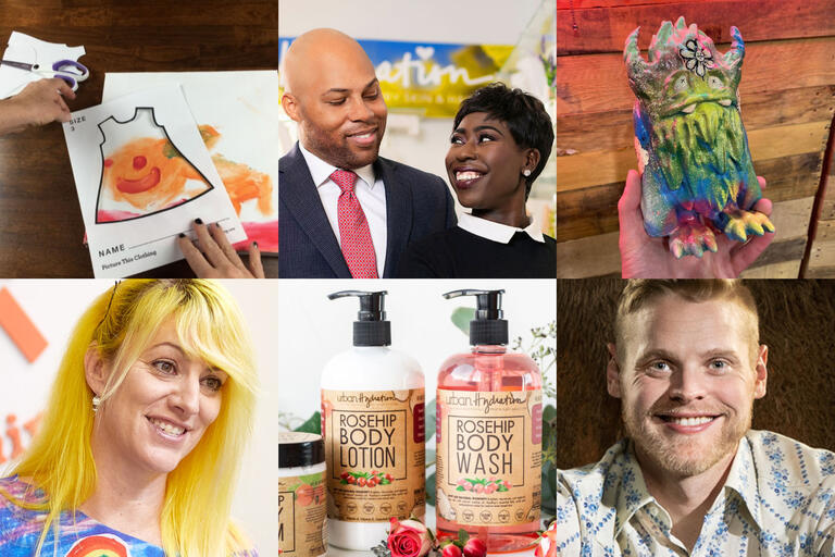 montage photos of four people, a coloring sheet, a monster figurine, and lotion bottle