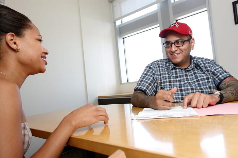 Student speaks to a advisor