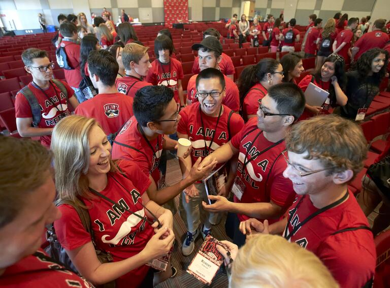 Group of student in red U-N-L-V students.