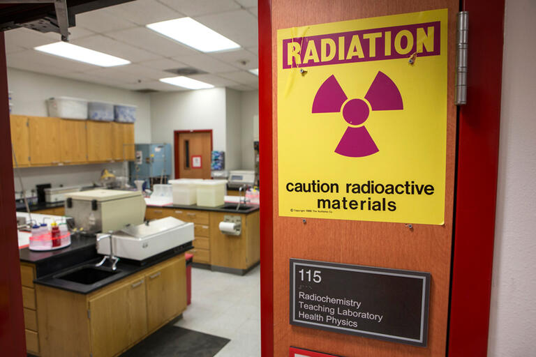 Radiation warning sign outside of a lab