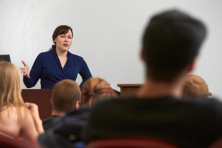 Instructor teaching a class.