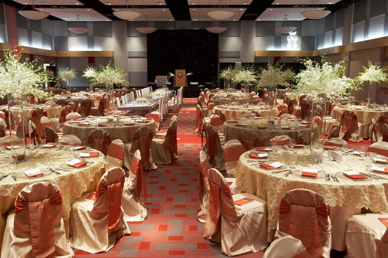 banquet room prepared for an event