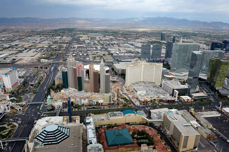 Aerial view of the Las Vegas strip. Photo courtesy of Sam Morris/Las Vegas News Bureau