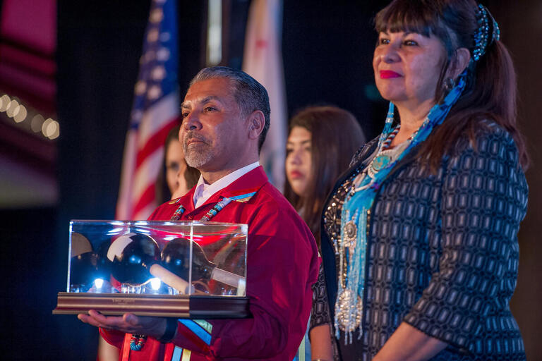 SMBMI Chairman Ken Ramirez (left) with former Chairwoman Lynn Valbuena at the annual Forging Hope Yawa' Awards celebration, honoring transformative work of nonprofits in the Inland Empire and Indian Country.