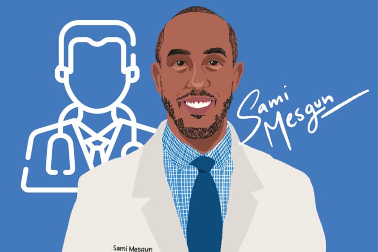 Graphic illustration of scholarship recipient Sami Mesgun in a white coat