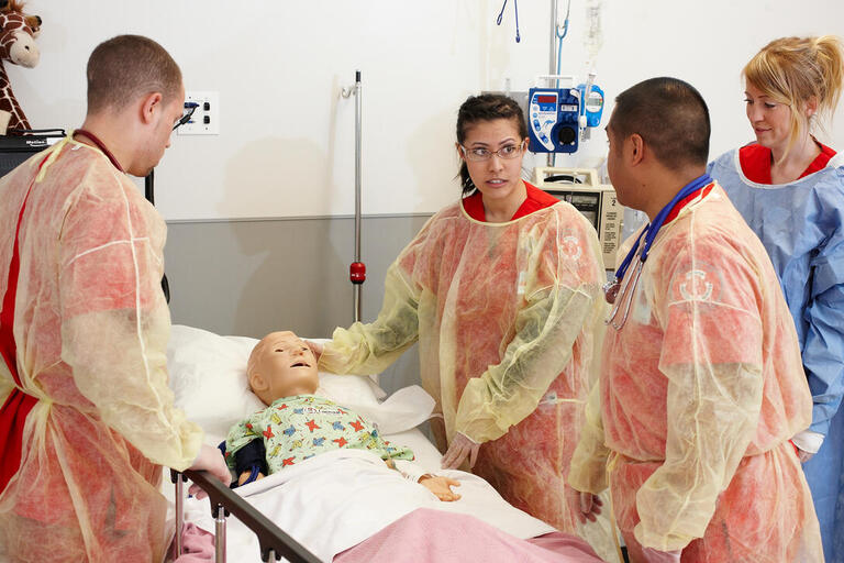 UNLV nursing students assess a patient's needs at the Clinical Simulation Center of Las Vegas