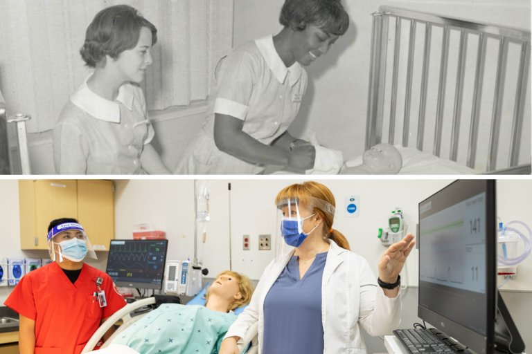 two photos of nursing students; top photo is old black and white; bottom photo is color