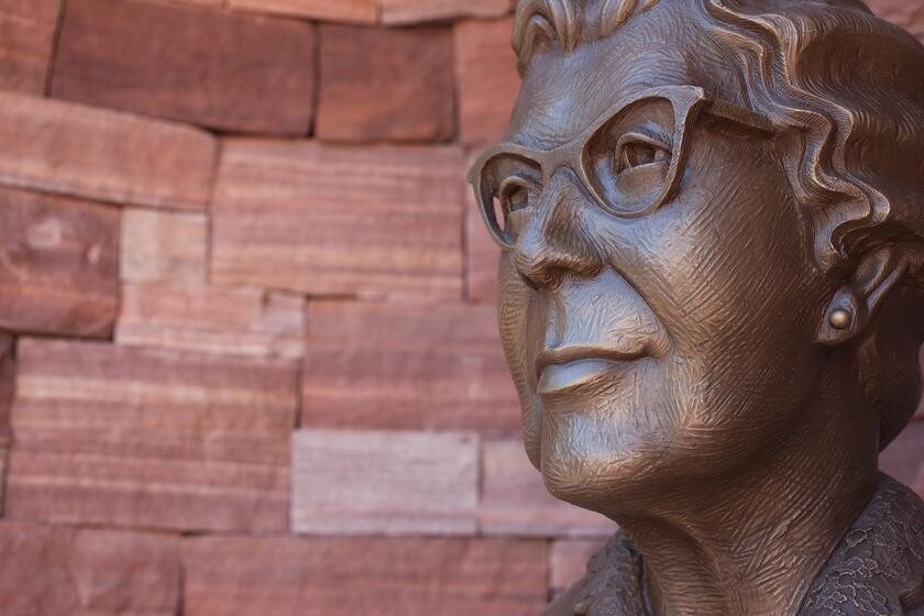 Bust of Maude Frazier on Pioneer Wall