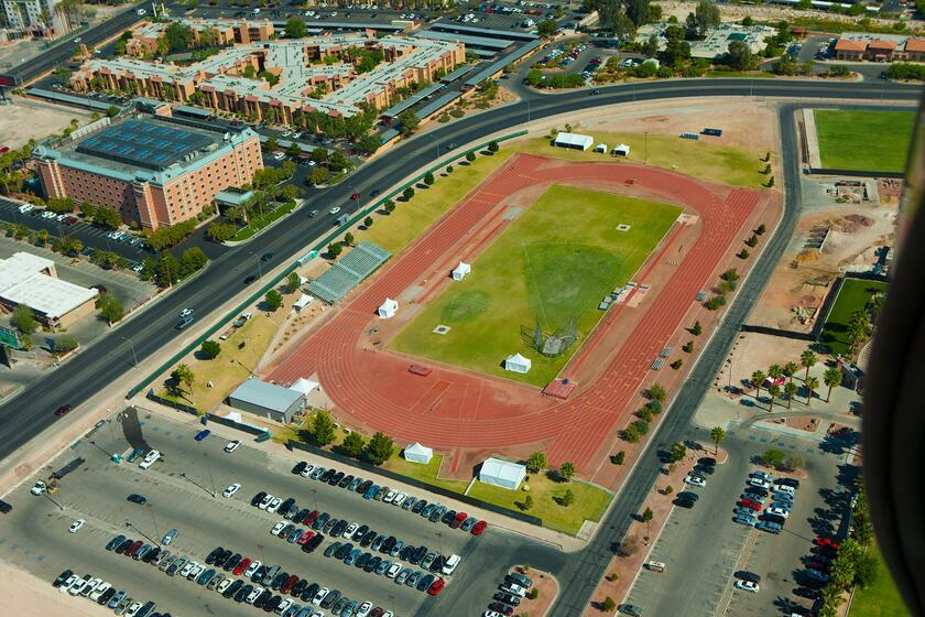 Aerial of Myron Partridge Track Stadium