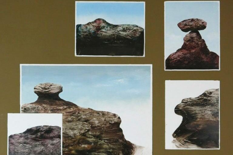 """Five Postcards"" (2006) by Llyn Foulkes."