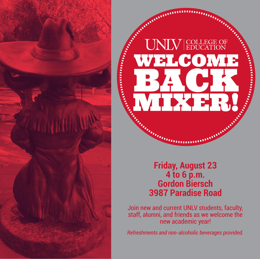 Banner with the title Welcome Back Mixer with an image of Hey Reb! statue in front of Tam Alumni Center.