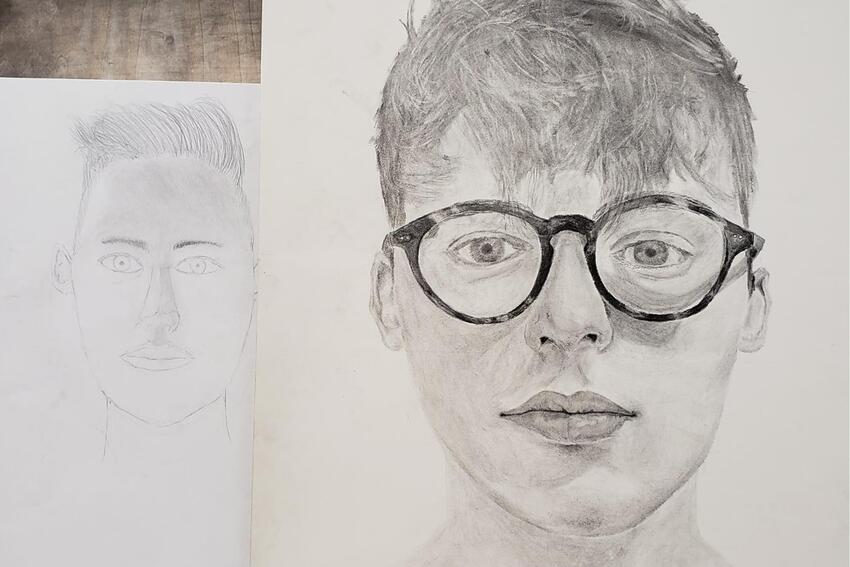 Sketch of a young man's face