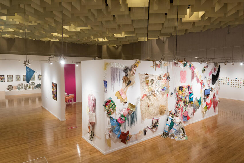 An overview of an art exhibition.