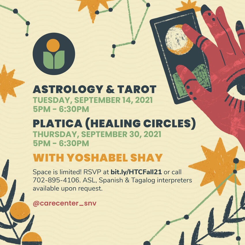 Right hand holding the moon tarot card. Yellow background with constellation and star patterns.