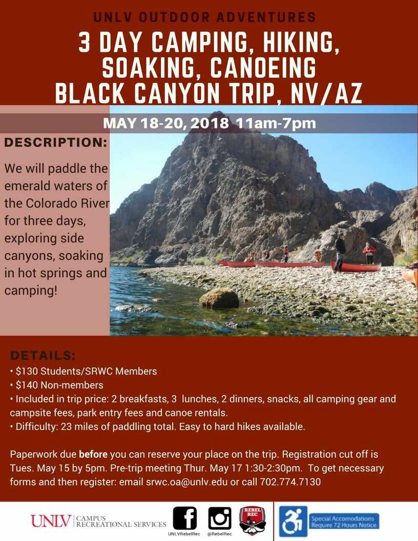Three Day Camping Hiking And Canoeing Black Canyon Calendar University Of Nevada Las Vegas
