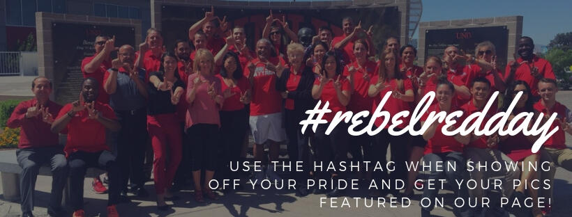 An image of students wearing red shirts with the hashtag titled #rebelredday use the hashtag when showing off your pride and get your pics featured on our page.