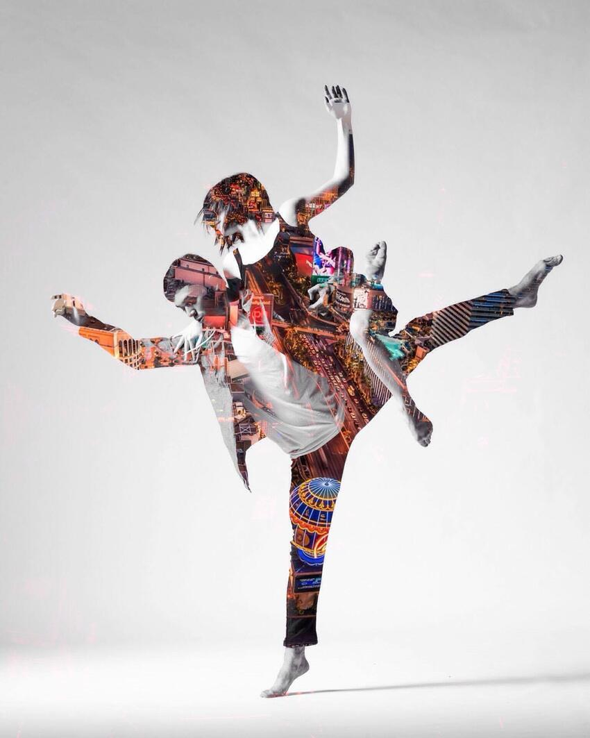 Abstract photo of a male and female dancer