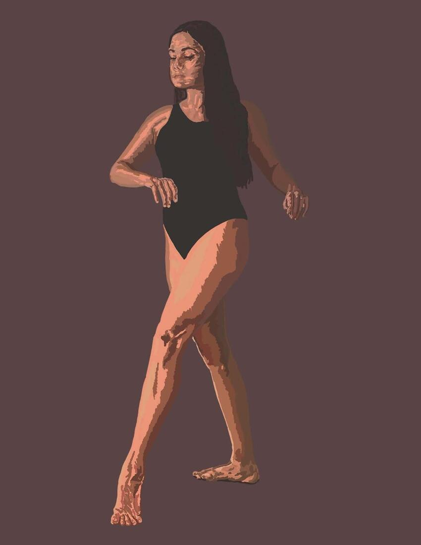 A drawing of a woman dancing.