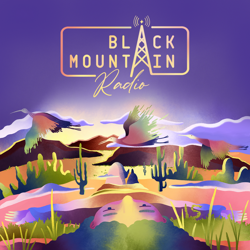 A graphic depicting a desert scene with mountains