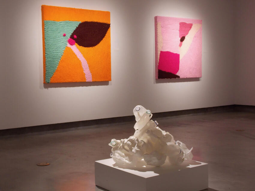 Photo of abstract art pieces displayed in the gallery