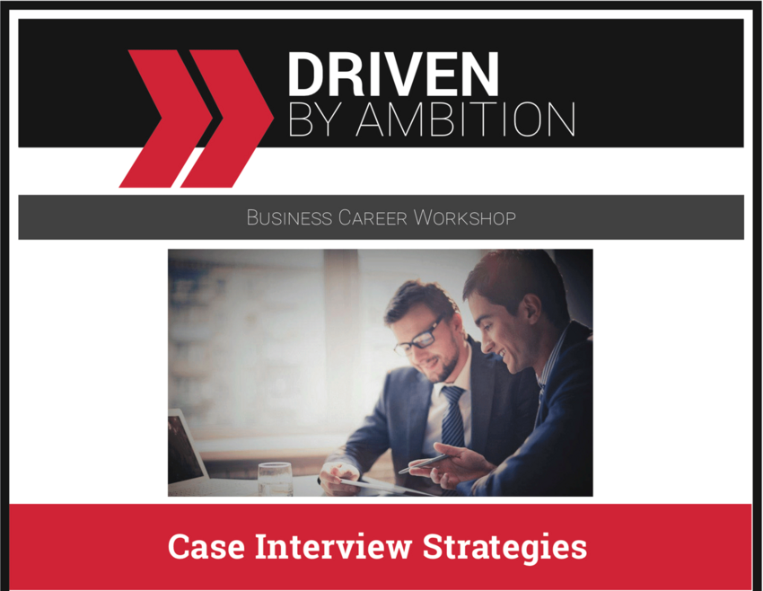 Case Interview Grapic showing a two people working at a desk.