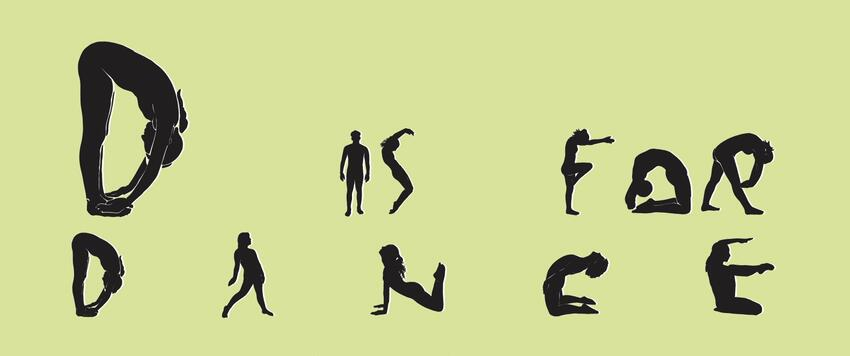 """Dancers in shadow forming letters spelling out """"D is for Dance"""""""
