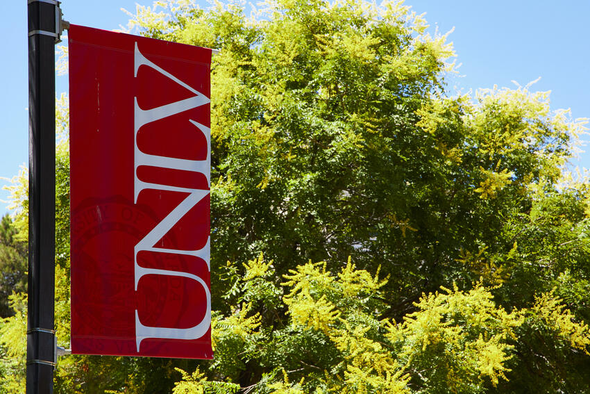A UNLV banner on campus with green trees behind it.