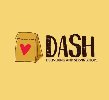 A brown lunch bag with a heart on it with the title DASH, delivering and serving hope